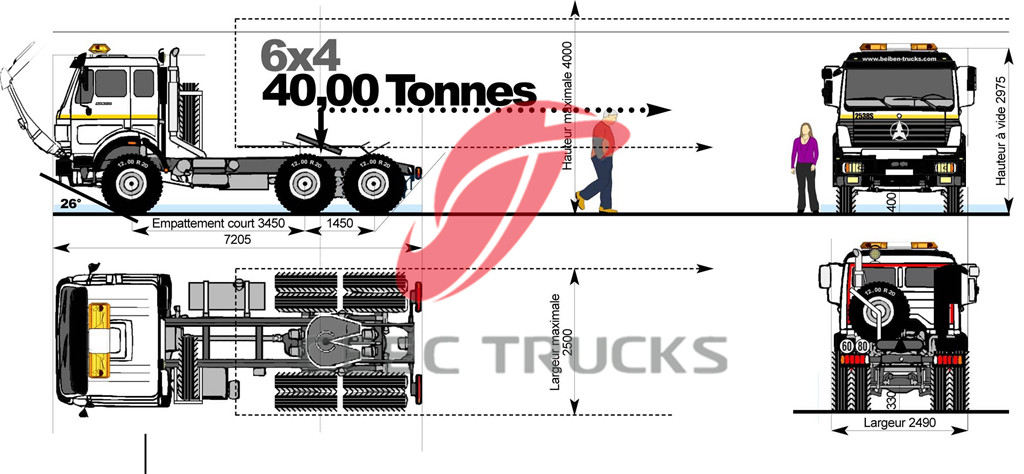 beiben 6x4 model 2534 tractor trucks drawing