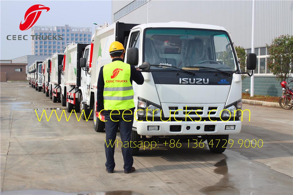 ceec engineer testing isuzu 5cbm garbage compactor truck