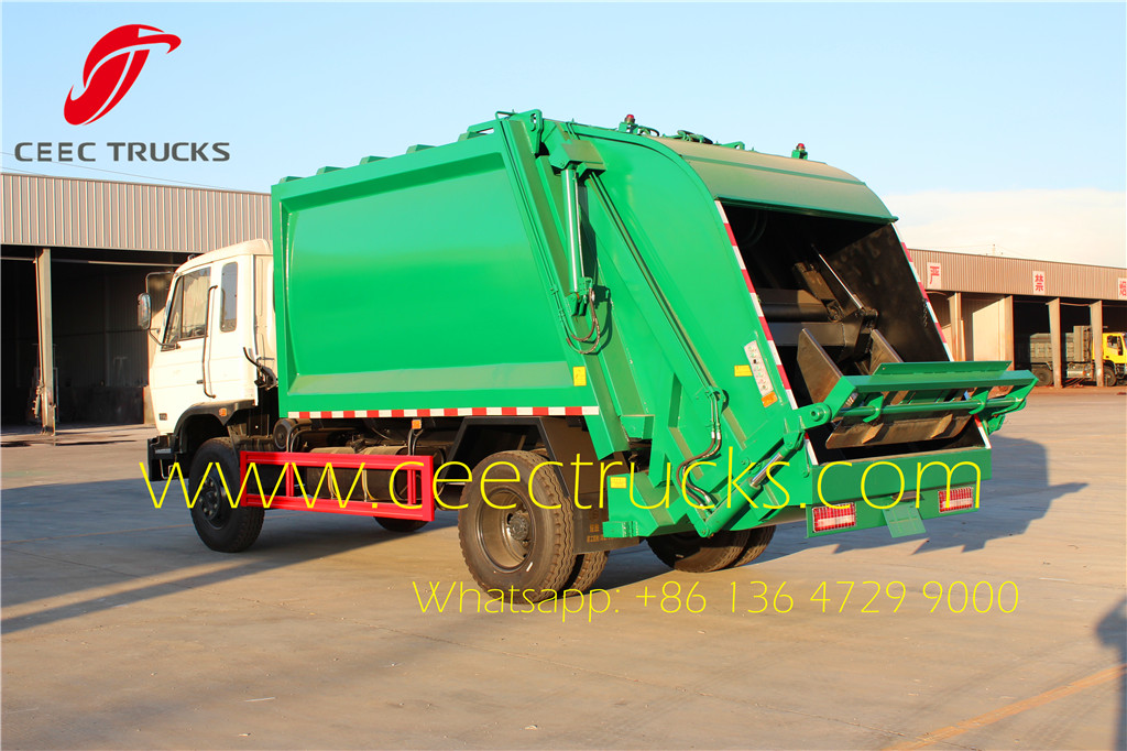 12 CBM refuse compactor truck rear view