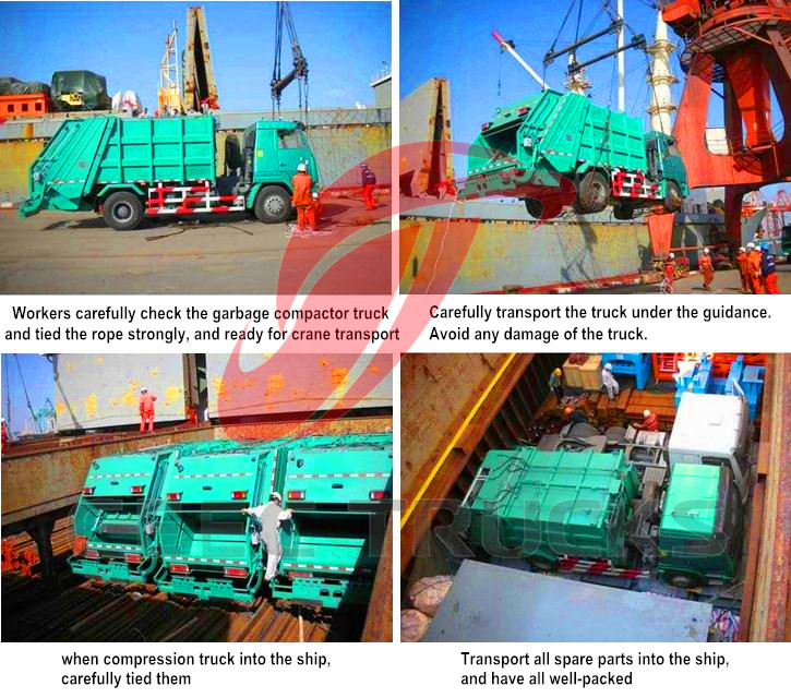 How garbage compactor truck for shipment