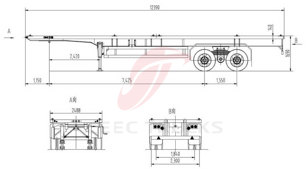 bogie suspension semitrailer drawing