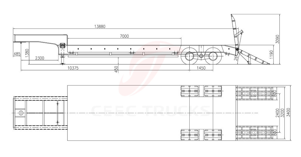 UN 2 axle low bed semitrailer drawing