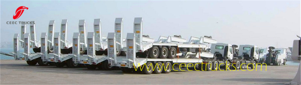 3 Axle low bed semitrailer packed for shipment