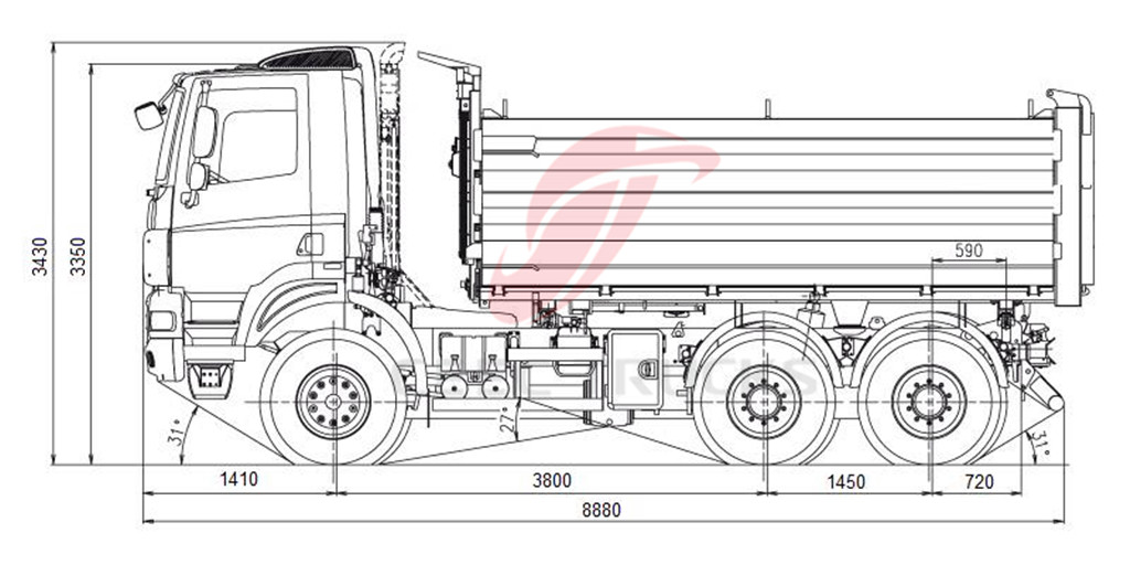 Beiben 10 wheeler dumper truck drawing