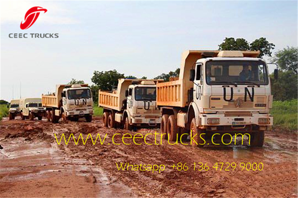 beiben 2538 dump truck service for UN project