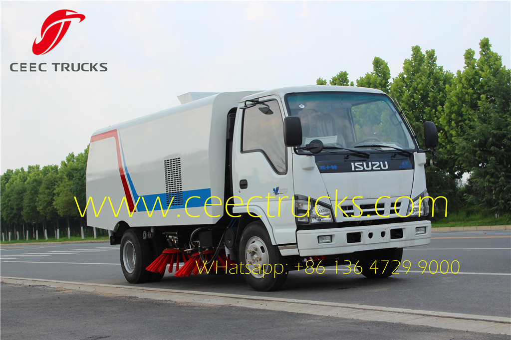 ISUZU 5 CBM road sweeper trucks on road