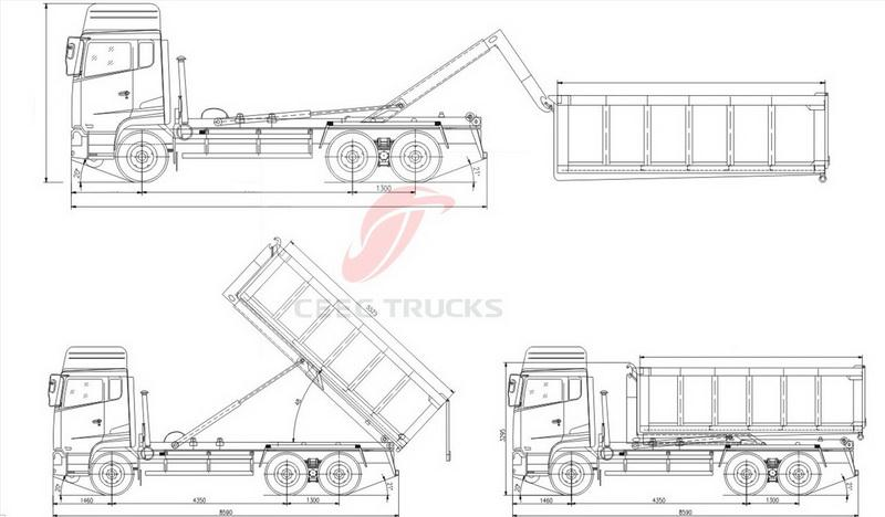 beiben Swing arm garbage truck technical drawing