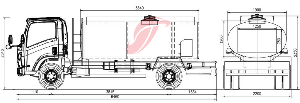 ISUZU 5000L Fuel tanker truck drawing