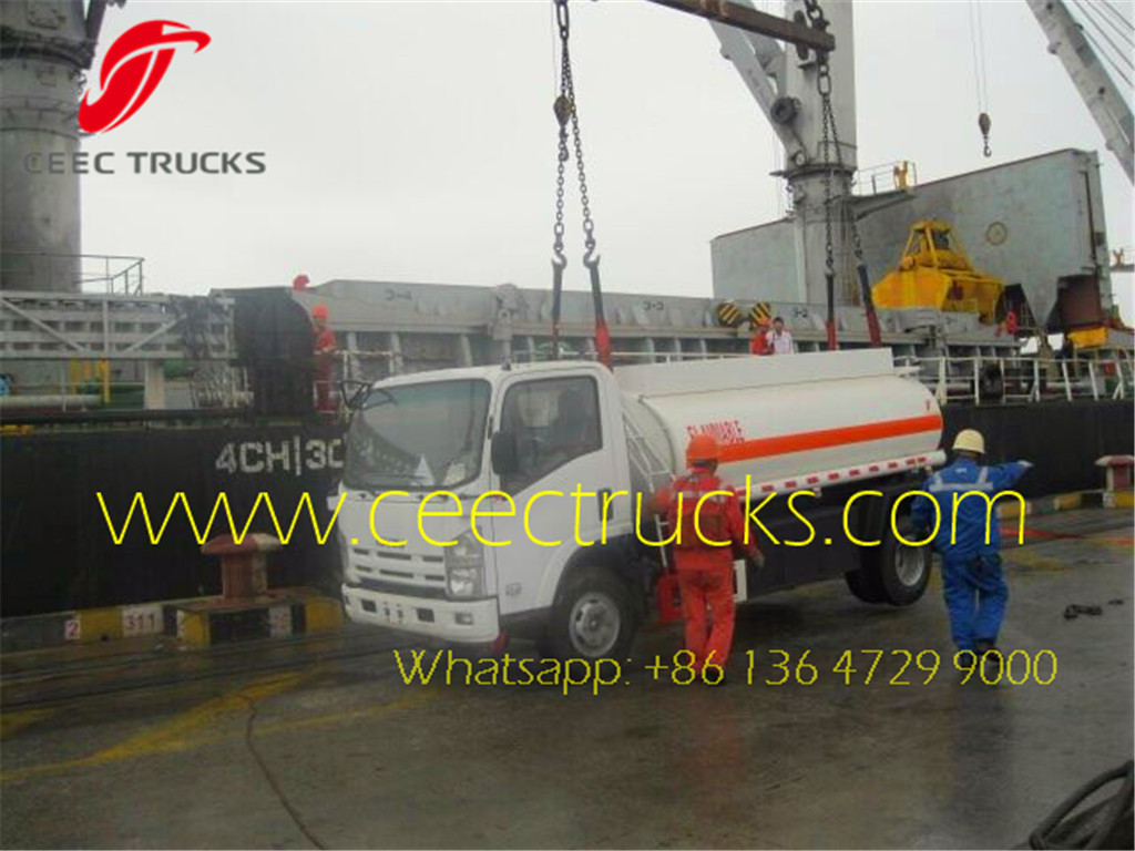 ISUZU 5000L Fuel tanker truck at shanghai seaport