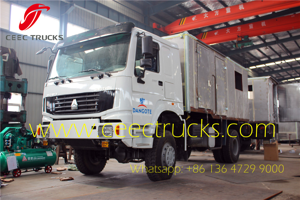 HOWO mobile workshop trucks export Nigeria DANGOTE