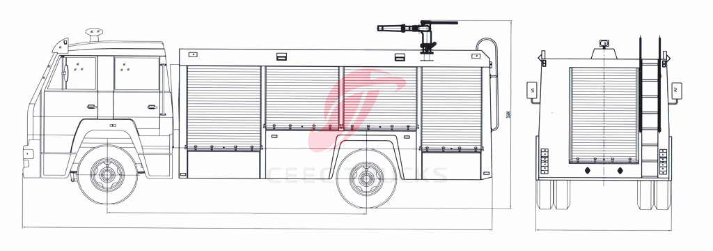 ceec FAW firefighting truck drawing