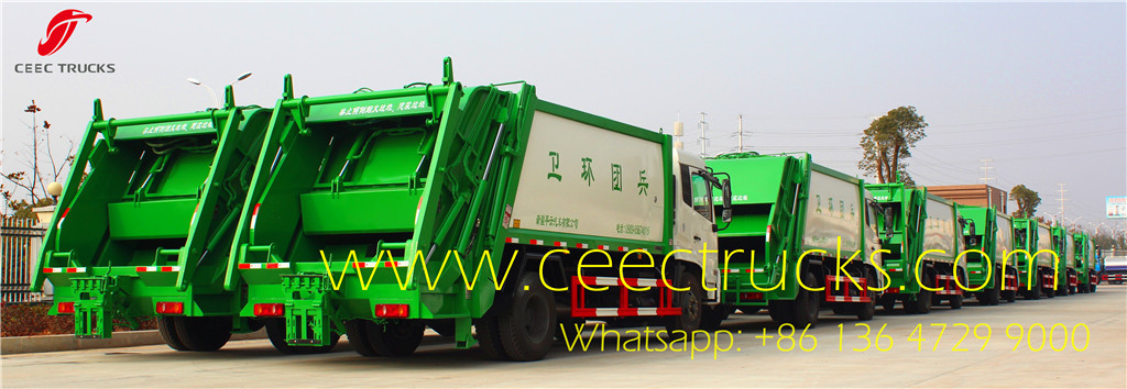 FAW 10-12 CBM garbage compactor trucks factory stock