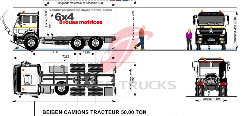 beiben 2634 dumper truck chassis dimension