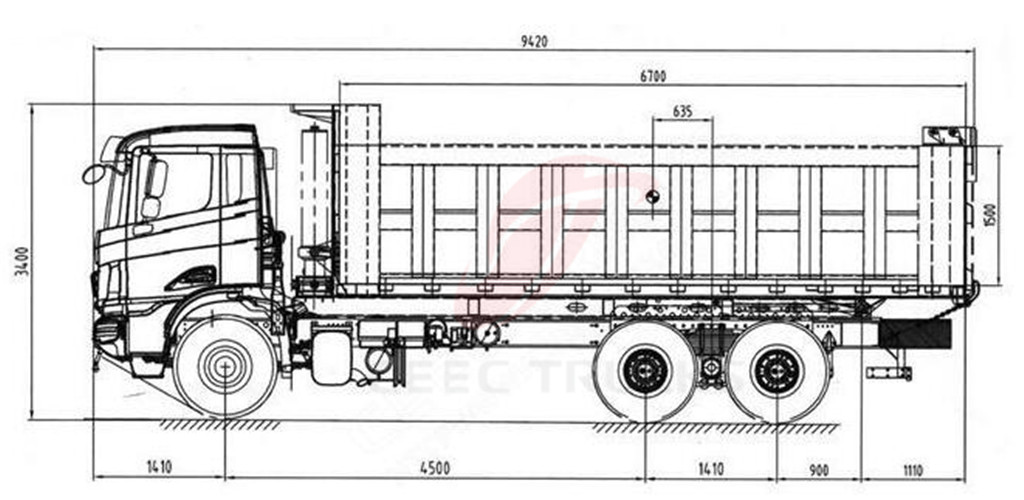 beiben 2538 tipper truck drawing