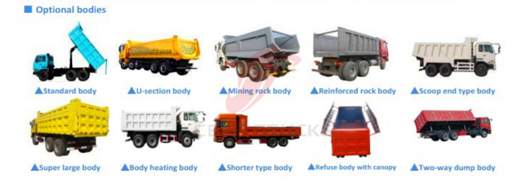 CEEC produced beiben tipper trucks optional body system