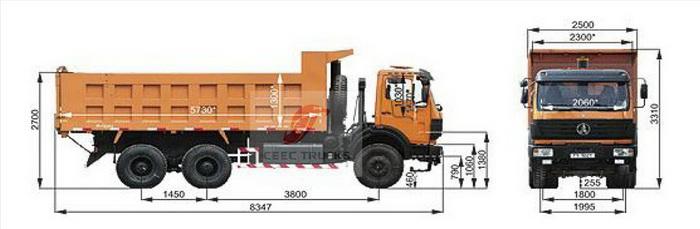 Beiben 10 wheeler dump truck drawing