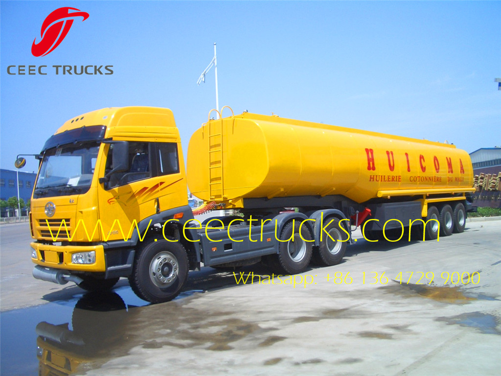 FAW brand prime mover and fuel tanker semitrailer