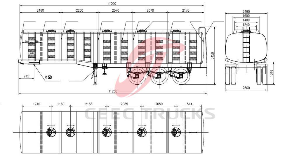 35-45cbm fuel tank semitrailer