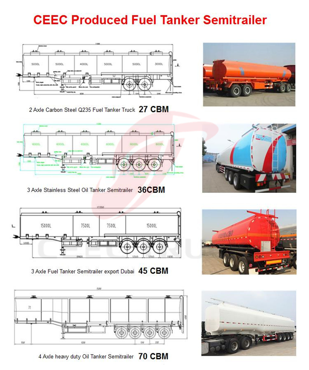 Stainless steel fuel tanker semitrail for optional