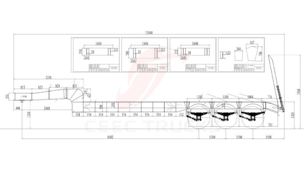 3 axle low bed semitrailers drawing details