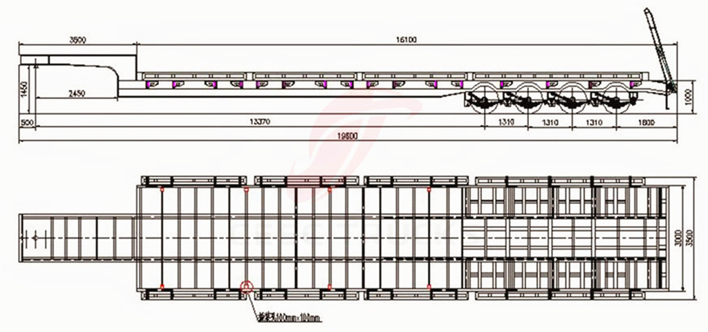 4 axle low bed semitrailers