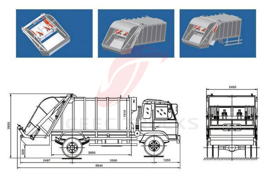 ISUZU 4 CBM compactor garbage truck drawing dimension