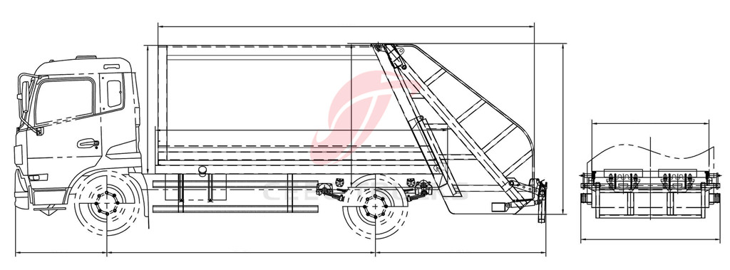 Dongfeng 7 CBM compactor trucks drawing