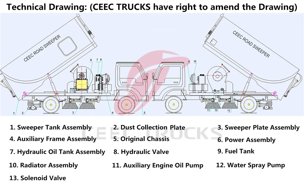 road sweeper truck drawing