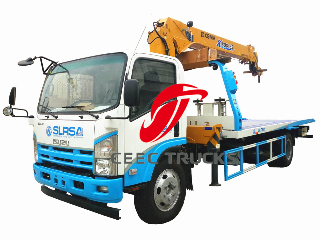 ISUZU 5T road wrecker truck mounted crane supplier