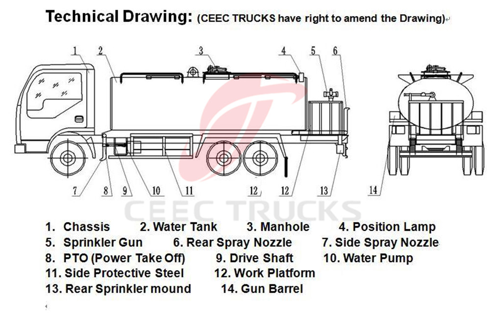 20 CBM water tanker truck drawing