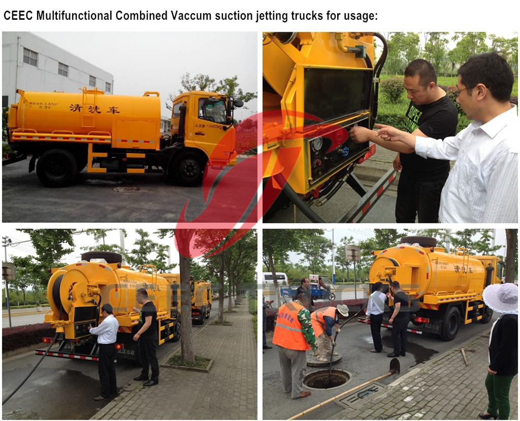 Combined jetting vcuum sewage suction trucks for testing