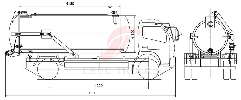 dongfeng 8-10 CBM cesspit emptier drawing