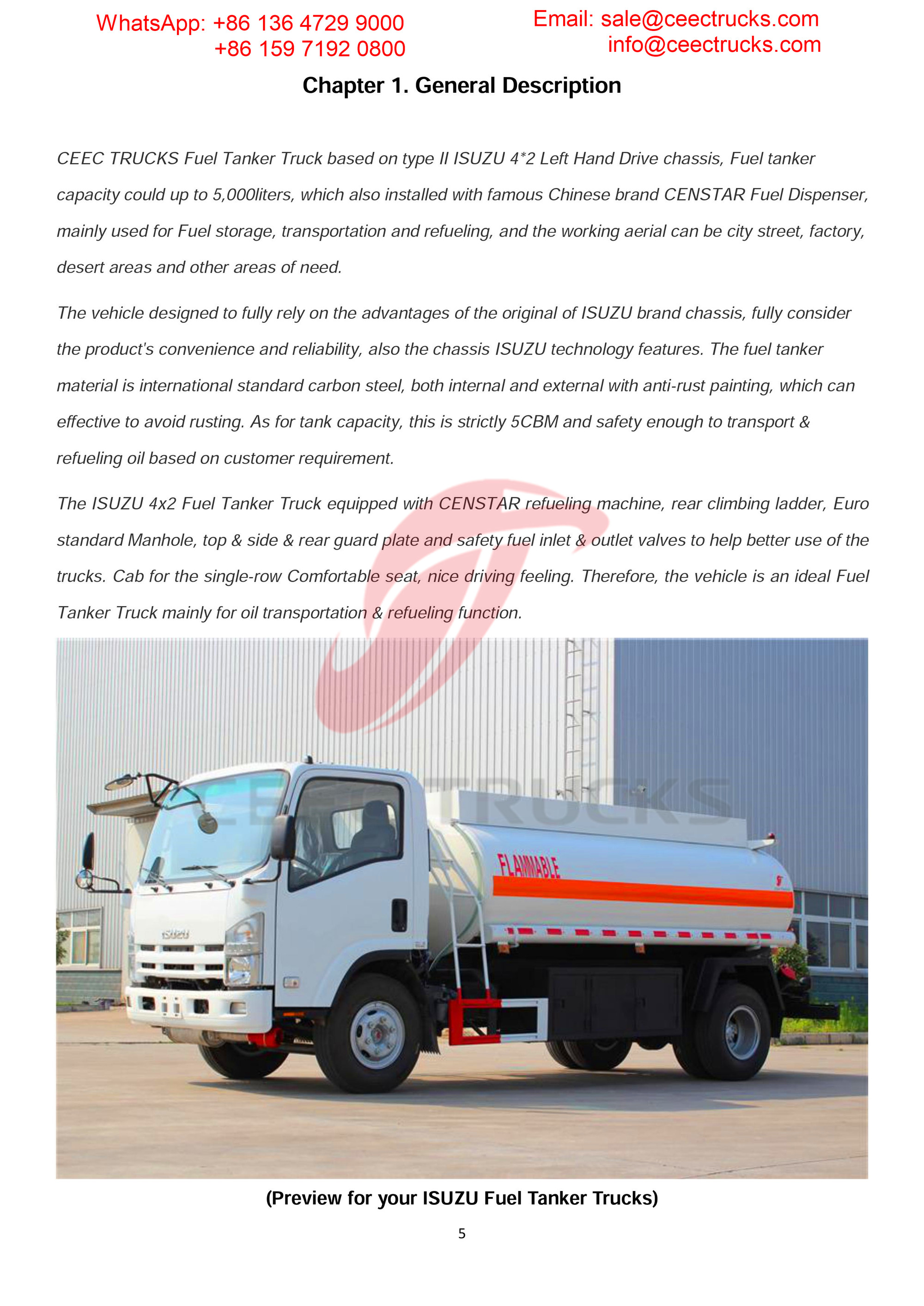 isuzu 5000liters fuel truck export Dubai