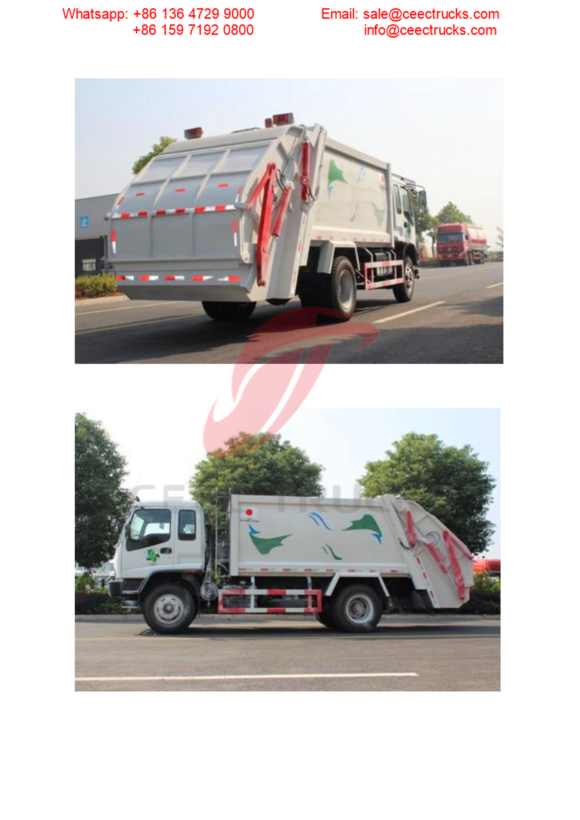 Dominica customer buy ISUZU FVR 12CBM garbage compactor truck