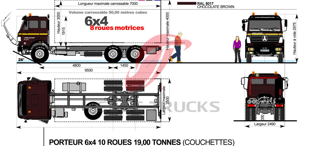 beiben 2530 fuel tanker truck chassis drawing