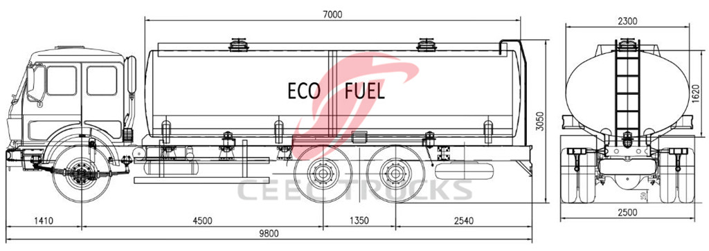 Beiben 300HP NG80B fuel bowser truck technical drawing
