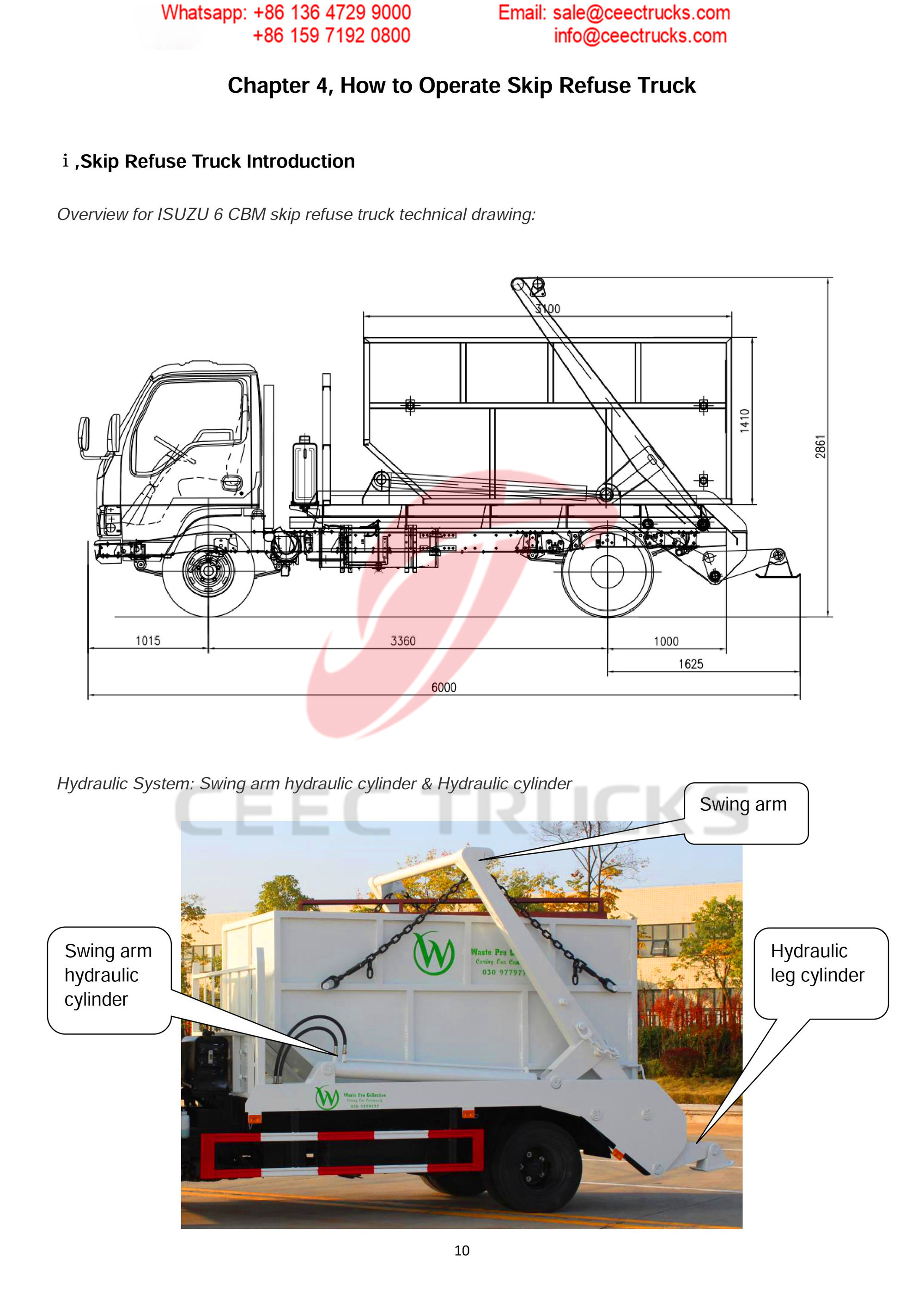 ISUZU 6CBM skip refuse truck Operation Manual