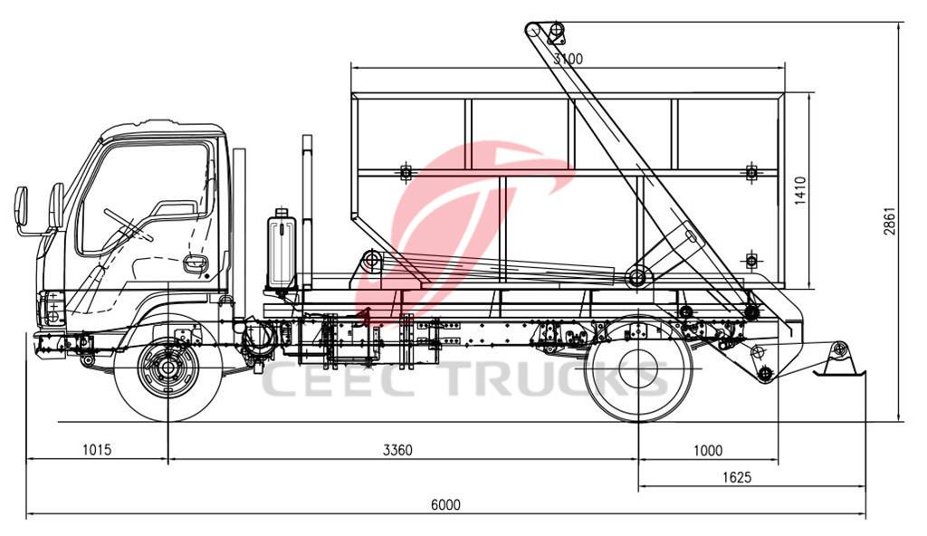 ISUZU 6CBM skip refuse truck CAD drawin