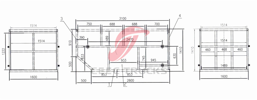 ISUZU 6CBM skip refuse truck container CAD drawing