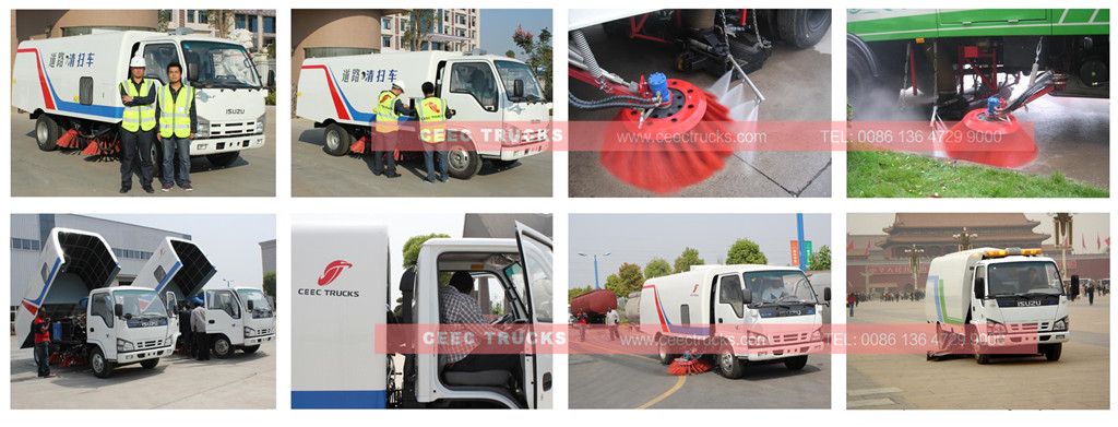 ISUZU road sweeper truck inspection