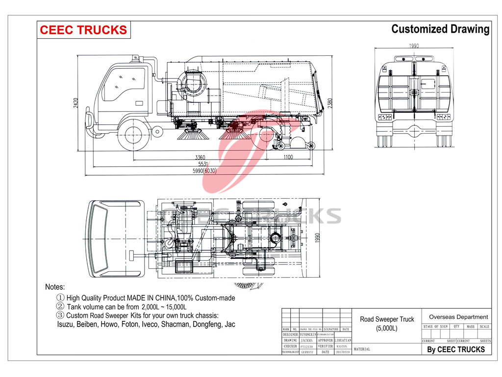 ISUZU 5cbm road sweeper truck drawing