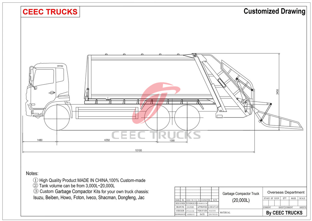 ISUZU 20cbm garbage compactor truck drawing