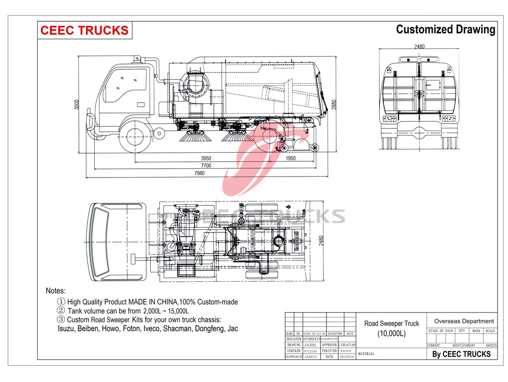 CEEC road sweeper truck drawing