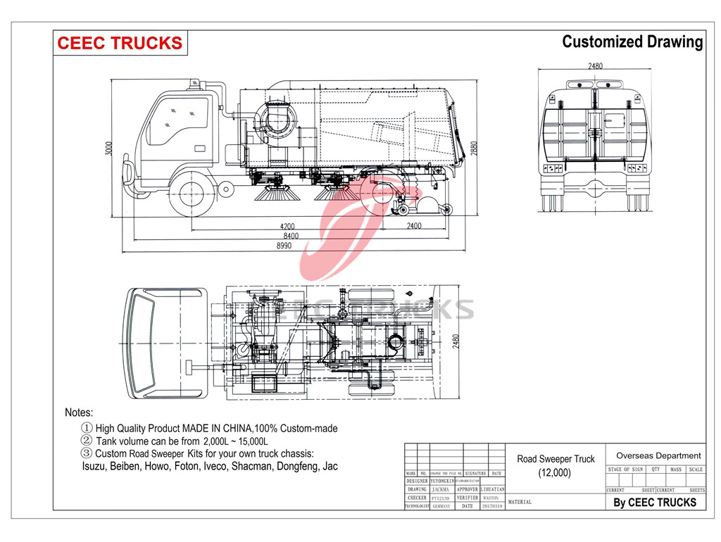 ISUZU 12CBM road sweeper truck drawing