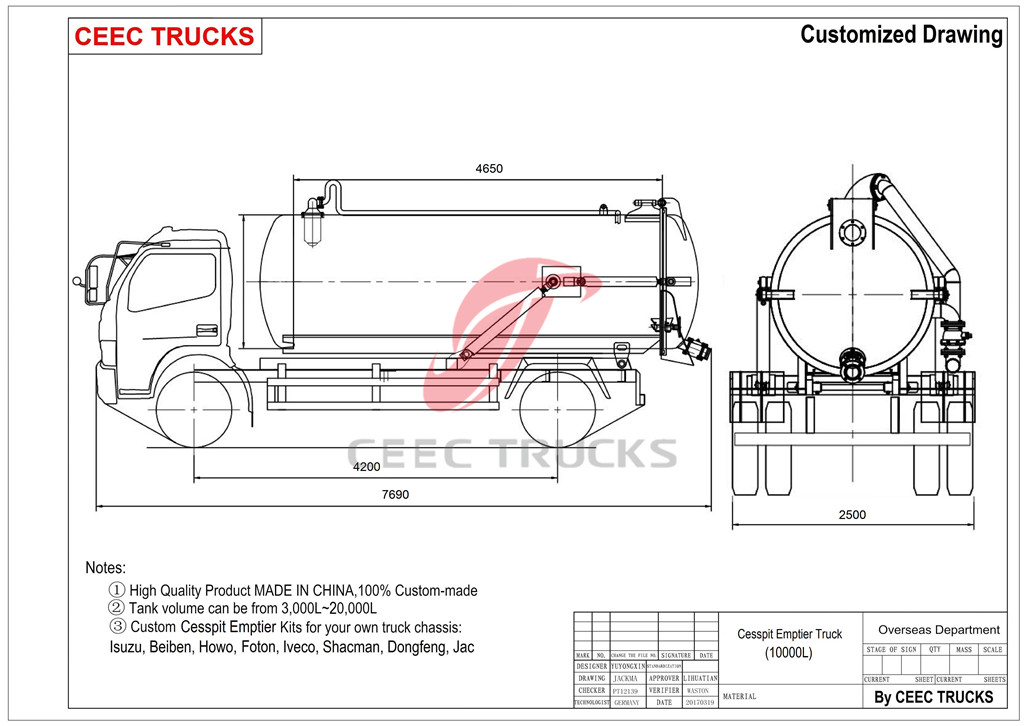 DONGFENG 10cbm cesspit emptier drawing