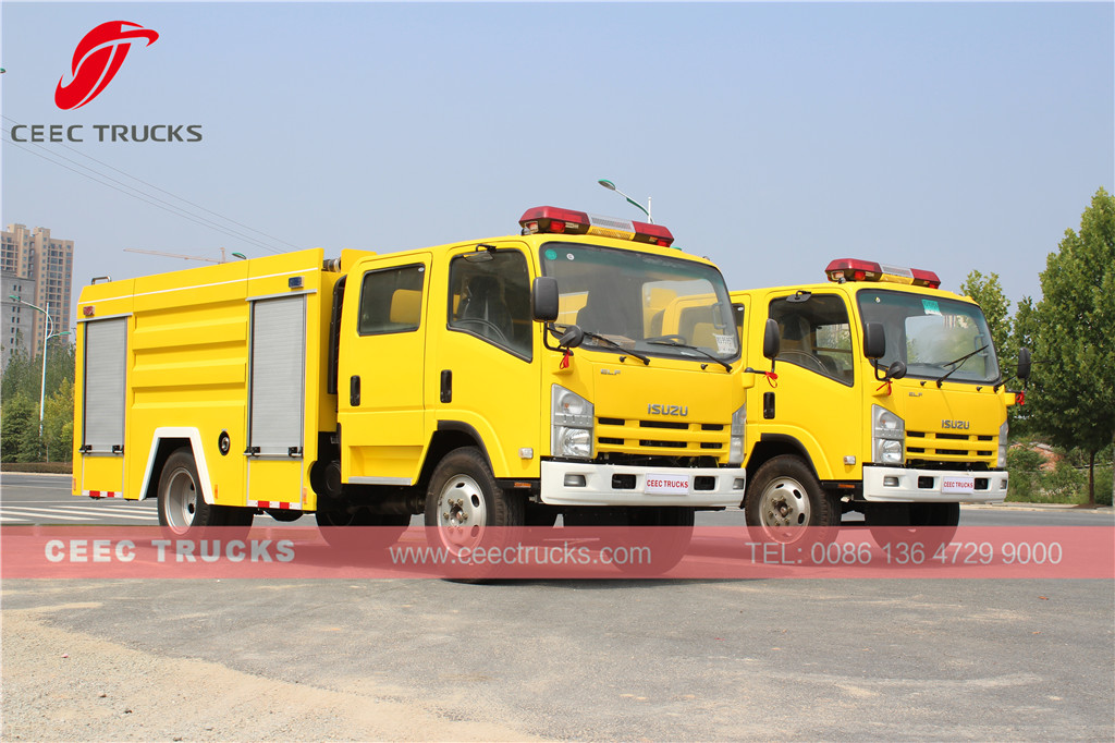Dubai customer buy 2 units ISUZU firefighting trucks low price sale