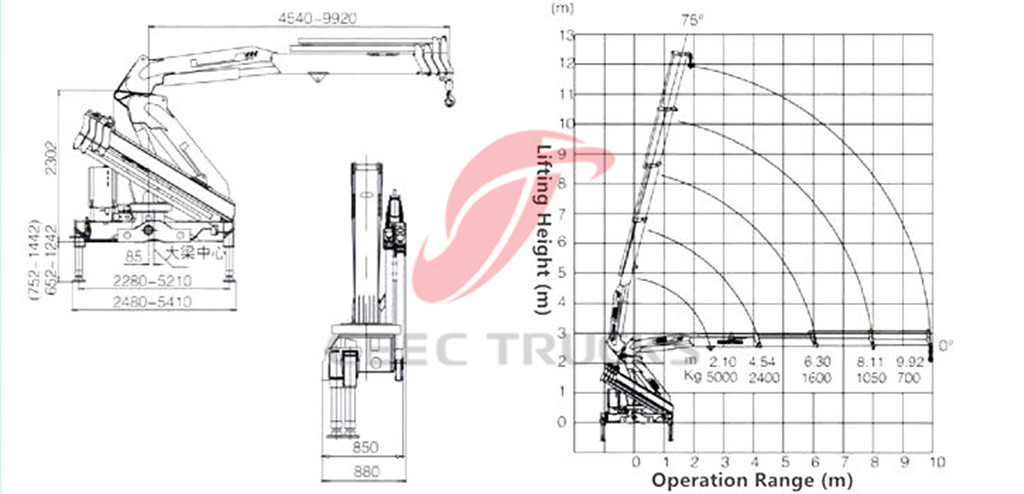 5tons knuckle boom crane CAD drawing