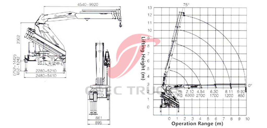 6.3Tons knuckle boom crane CAD drawing