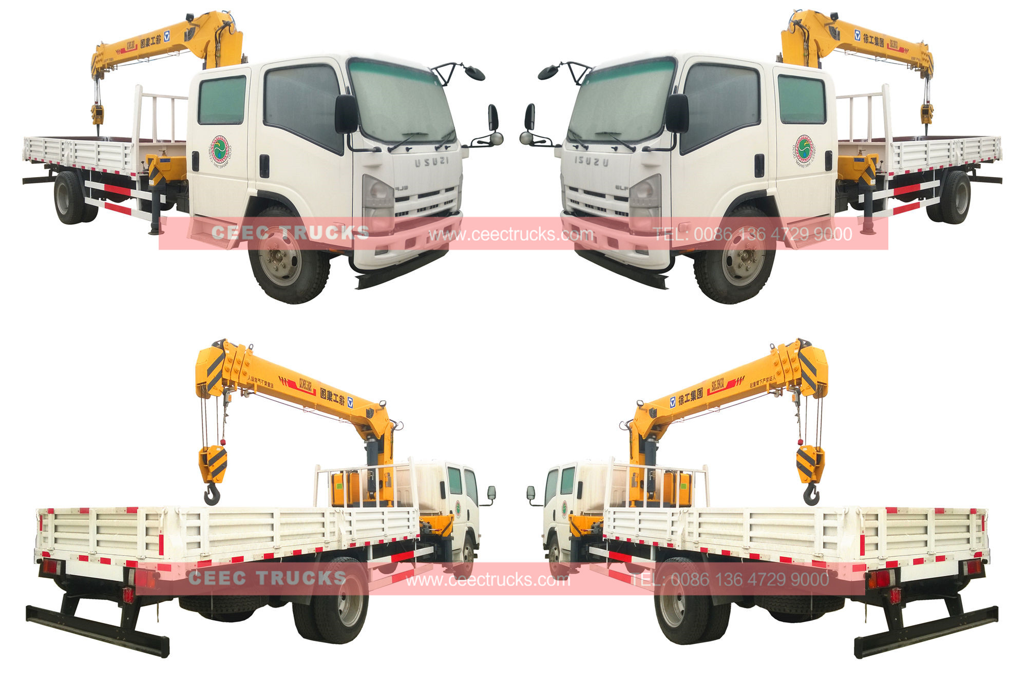 ISUZU 6.3tons boom crane truck wholeview