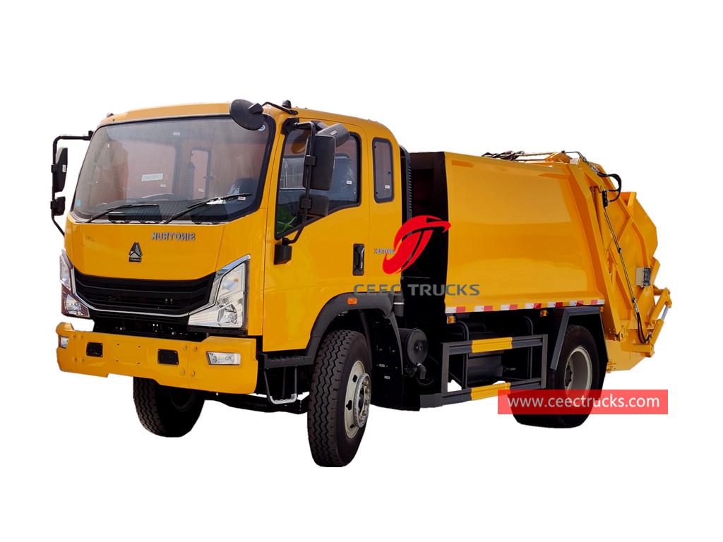 HOWO 6 wheeler rear loader garbage truck